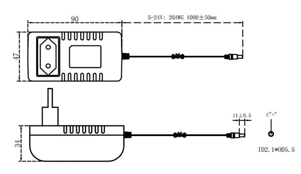 15V 2A power supply drawing