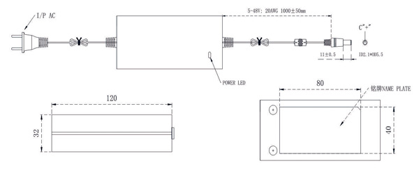9V 4A power supply drawing